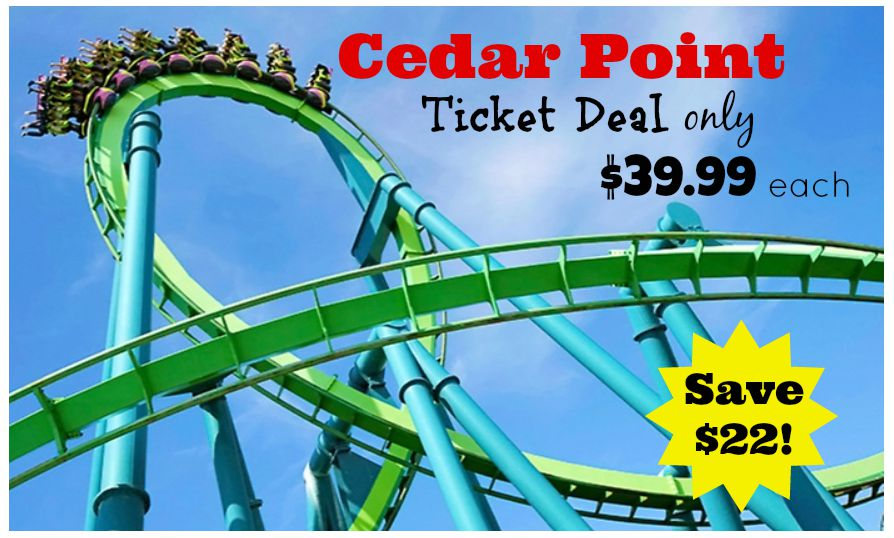 Cedar Point offers instant online coupons that save you $10 off of each ticket purchased in advance. You can also save nearly $21 off of a regular day admission by staying at one of Cedar Point.