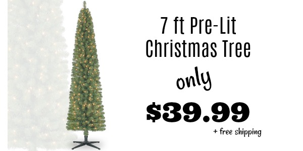 Pre Lit 7 Foot Pencil Christmas Tree Only 39 99 Shipped Reg 100