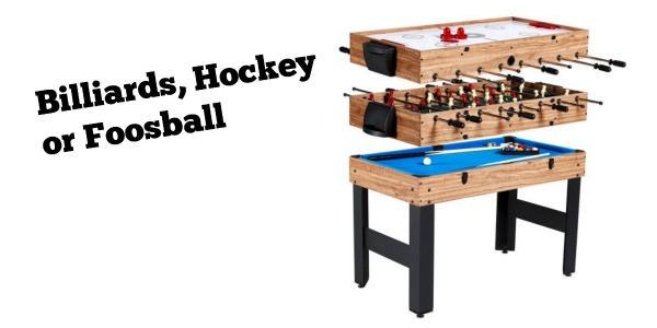 MD Sports 48 Inch 3 In 1 Combo Game Table, 3 Games With Billiards, Hockey  And Foosball